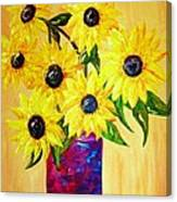 Sunflowers In A Red Pot Canvas Print