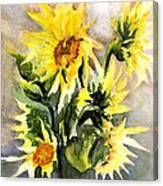 Sunflowers In Abstract Canvas Print