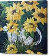 Sunflowers In An Antique Country Pot Canvas Print
