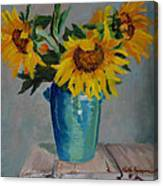 Sunflowers In Blue Vase Canvas Print