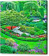 Sunken Garden In Butchart Gardens Near Victoria-british Columbia Canvas Print