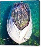 Sunken Motor Boat After Storm Canvas Print