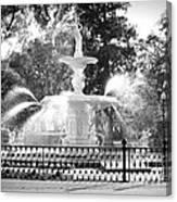 Sunlight Through Savannah Fountain With Vignette Canvas Print