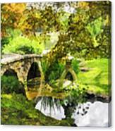 Sunlit Bridge In Park Canvas Print