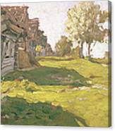 Sunlit Day  A Small Village Canvas Print