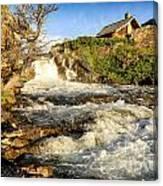 Sunlit Rapids In Glacier Canvas Print
