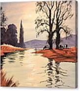 Sunlit River - Chess At Latimer Canvas Print