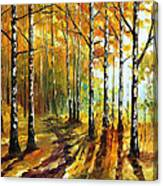 Sunny Birches - Palette Knife Oil Painting On Canvas By Leonid Afremov Canvas Print