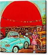 Sunny Day At The Big Orange Julep  Montreal Road Side Diner Carole Spandau Canvas Print