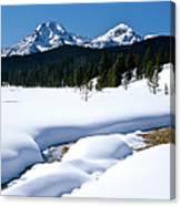 Sunny January Day Sawtooth Mountains Canvas Print