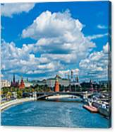 Sunny River And Moscow Kremlin Canvas Print