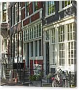 Sunny Street In Amsterdam Canvas Print