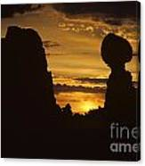 Sunrise Arches National Park With Balanced Rock Silhouetted Agai Canvas Print