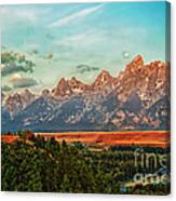 Sunrise At Grand Tetons Canvas Print