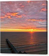 Sunrise At Saltburn Pier And Seafront Portrait Canvas Print