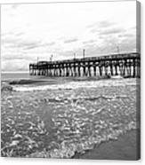 Sunrise At Surfside Bw Canvas Print