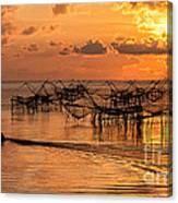 Sunrise At The Fishing Village Canvas Print