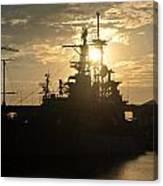 Sunrise At The Naval Base Silhouette Erie Basin Marina V1 Canvas Print