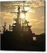 Sunrise At The Naval Base Silhouette Erie Basin Marina V2 Canvas Print