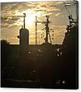 Sunrise At The Naval Base Silhouette Erie Basin Marina V4 Canvas Print