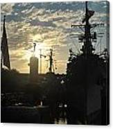 Sunrise At The Naval Base Silhouette Erie Basin Marina V5 Canvas Print