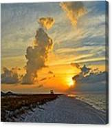 Sunrise Colors Over Navarre Beach With Stormclouds Canvas Print