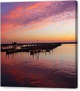 Sunrise Dock Over Lake Huron Canvas Print