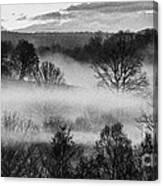 Sunrise Fog Black And White Canvas Print