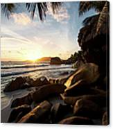 Sunrise Framed By Palm Trees And Rock Canvas Print