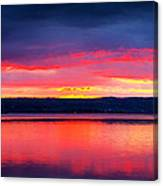 Sunrise In Cayuga Lake Ithaca New York Panoramic Photography Canvas Print
