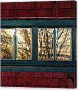 Sunrise In Old Barn Window Canvas Print