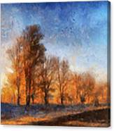 Sunrise On A Rural Country Road Photo Art 02 Canvas Print