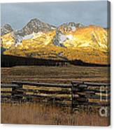 Sunrise On Sawtooth Mountains Idaho Canvas Print