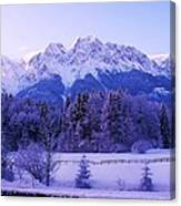 Sunrise On Snowy Mountain Canvas Print
