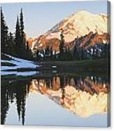 Sunrise Over A Small Reflecting Pond Canvas Print