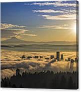 Sunrise Over Foggy Portland Canvas Print
