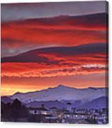 Sunrise Over Granada And The Alhambra Castle Canvas Print