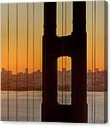 Sunrise Over San Francisco Bay Through Golden Gate Bridge Canvas Print