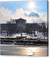 Sunrise Over The Art Museum In Winter Canvas Print