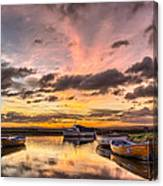 Sunrise Over The Old Salmon Boats Canvas Print