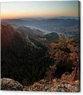Sunrise Over The Town Of Smolyan Canvas Print