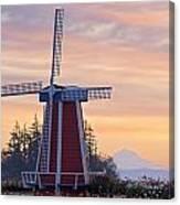 Sunrise Over Wooden Shoe Tulip Farm And Canvas Print