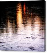 Sunrise Reflected On Icy Pond Canvas Print