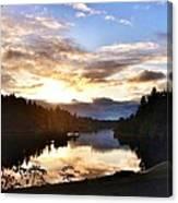 Sunrise River Mirror Canvas Print