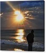 Sunrise Run On The Beach Canvas Print