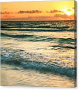 Sunrise Seascape Tulum Mexico Canvas Print