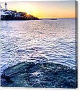 Sunrise Starburst Over Nubble Lighthouse  Canvas Print
