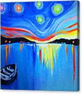 Sunrise At The Lake - Van Gogh Style Canvas Print