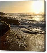 Sunrise Waves On The Rocks By Kaye Menner Canvas Print