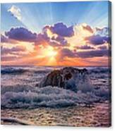 Sun's Rays By The Old Coral. Canvas Print
